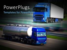 PowerPoint template displaying two blue colored trucks moving fast on tarred roads