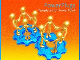 PowerPoint template displaying two blue gears with standing golden 3D figures holding hands, group of four figures on gear