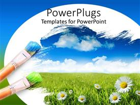 PowerPoint template displaying two blue and green tipped color brushes with daisies