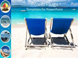 PowerPlugs: PowerPoint template with two blue lounge chairs on beach, with umbrella, feet in sand, vacation, travel, tropical, island