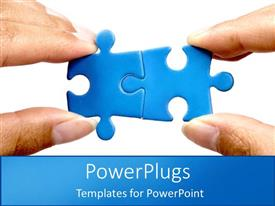 PowerPlugs: PowerPoint template with two blue puzzle pieces fit together blue background