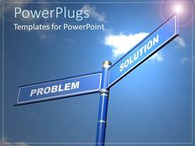 PowerPlugs: PowerPoint template with two blue sign posts with text that spell out the words'problem' and 'solutions'