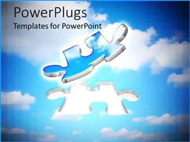 PowerPlugs: PowerPoint template with two blue and silver colored floating puzzle pieces on a cloudy background