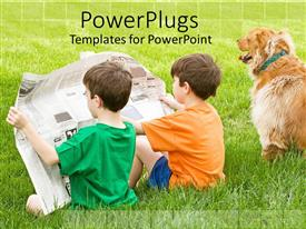 PowerPlugs: PowerPoint template with two boys sitting in the grass reading a newspaper together with their dog