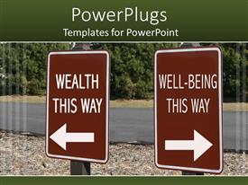 PowerPoint template displaying two brown signs written wealth this way and well-being this way