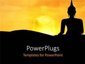 PowerPoint template displaying two buddha images on a yellow and black background