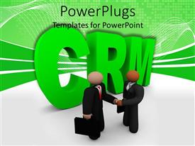 PowerPlugs: PowerPoint template with two business human figures shaking hands in front of a CRM text