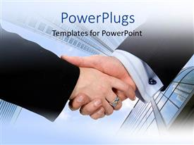 PowerPlugs: PowerPoint template with two business man having a handshake over high buildings