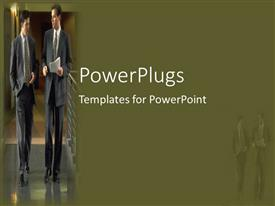 PowerPlugs: PowerPoint template with two business man with papers walking and discussing in office building