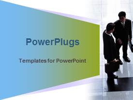 PowerPlugs: PowerPoint template with two business men with brief cases having a discussion