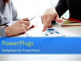PowerPlugs: PowerPoint template with two business men discussing over business document