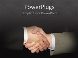 PowerPlugs: PowerPoint template with two business men having a handshake over a black background