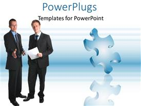 PowerPoint template displaying two business men with papers discussing near jigsaw puzzle piece