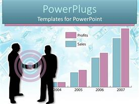 PowerPoint template displaying two business men shaking hands with a bar chart of Profit and Loss