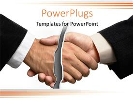PowerPlugs: PowerPoint template with two business men shaking hands with a slash breaking them