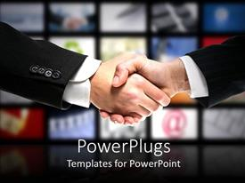 PowerPlugs: PowerPoint template with two business men in suits shaking hands in colorful background