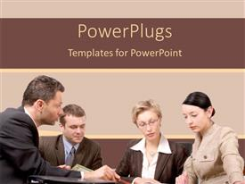 PowerPlugs: PowerPoint template with two business men and two women paying attention to presentation on table