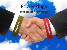 PowerPlugs: PowerPoint template with two business men wearing red and green handbands having a handshake