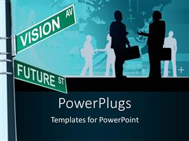 PowerPlugs: PowerPoint template with two business people with briefcases talking  and a street sign