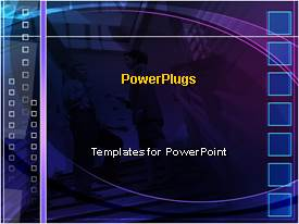 PowerPlugs: PowerPoint template with two business people discussing on a dark blue background