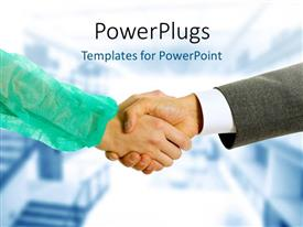 PowerPlugs: PowerPoint template with two business people having a hand shake in agreement