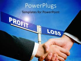 PowerPlugs: PowerPoint template with two business people shaking hands over profit and loss sign post