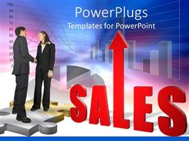 PowerPoint template displaying two business people shaking hands standing on puzzle pieces with a Sales text