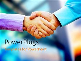 PowerPlugs: PowerPoint template with two business people shaking hands with blurred corporate background