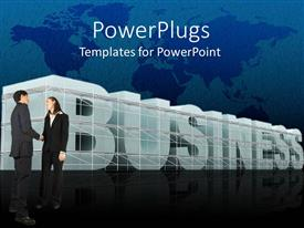 PowerPlugs: PowerPoint template with two business people shaking hands with a text that spells out the word 'Business'