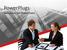 PowerPlugs: PowerPoint template with two business people smiling and shaking hands on a white background