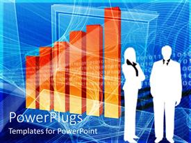 PowerPlugs: PowerPoint template with two business people standing beside an orange bar chart