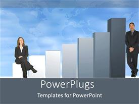 PowerPoint template displaying two business people standing at opposite sides of a bar chart