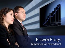 PowerPlugs: PowerPoint template with two business people standing and staring at a bar chart