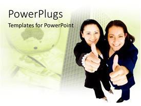 PowerPlugs: PowerPoint template with two business women raising thumbs up beside sky scraper