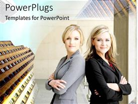 PowerPlugs: PowerPoint template with two business women with skyscrapers, female executives, management