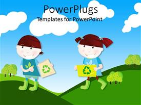 PowerPoint template displaying two cartoon character chidren  holding recycle signs and smiling