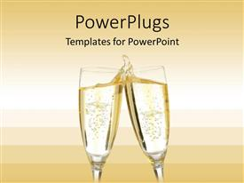PowerPlugs: PowerPoint template with two champagne glasses making a toast with a splash on a gradient champagne colored background