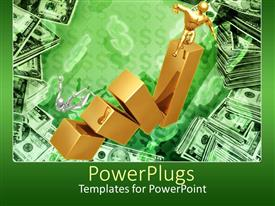 PowerPoint template displaying two characters falling off gold bars with lots of dollar bills around