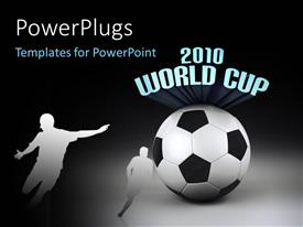 PowerPoint template displaying two characters and a football with text that spell out the words