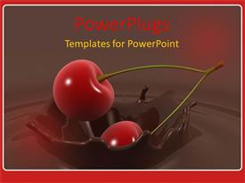 PowerPoint template displaying two cherry bulbs falling into a pool of chocolate