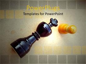 PowerPlugs: PowerPoint template with two chess pieces of a black queen and yellow pawn