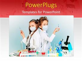 PowerPoint template displaying two children making science experiments with equipments and chemicals in a laboratory