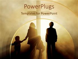 PowerPoint template displaying two children with parents family holding hands heading towards cross in light