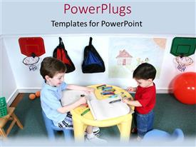 PowerPlugs: PowerPoint template with two children playing with crayons and books in a class room