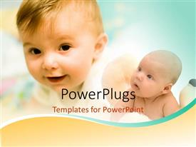 PowerPlugs: PowerPoint template with two children in young age with bluish background