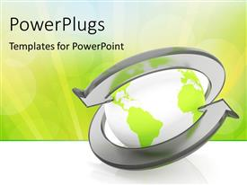 PowerPlugs: PowerPoint template with two class arrows around the earth globe over green and white background