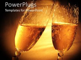 PowerPoint template displaying two clinking wine glasses on golden background