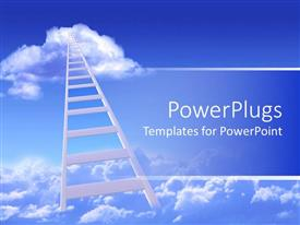PowerPoint template displaying two clouds connected by white ladder