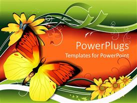 PowerPlugs: PowerPoint template with two colorful butterflies on an orange and green background