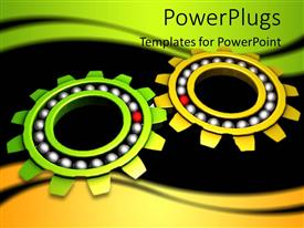 PowerPlugs: PowerPoint template with two colorful gears with dark background
